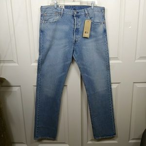 Levi 501 Button Fly Wash Stretch Jeans
